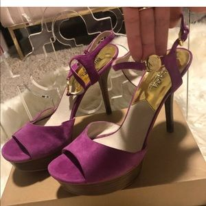 Michael kors suede platform sandals size 9.5